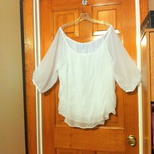 Boutique White Sheer Blouse with Embroidery